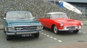 Sixties historie van Audi en aanverwanten in beeld: een schitterende Super 90 en een DKW 1000 Sp vormden pareltjes in Lemmer. Foto: Erik van Putten