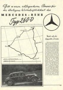 Historische advertentie over de Mercedes Benz W138, de eerste personenwagen met een dieselmotor in het vooronder. Afbeelding: Daimler AG