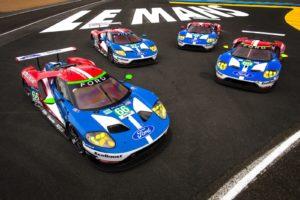 De vier Ford GT's, welke dit jaar namens het Amerikaanse merk in Le Mans aan de start verschijnen. Let op de startnummers. Afbeelding: Ford, Ford Chip Ganassi Racing