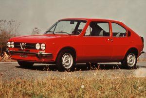 De Alfasud TI, één van de drie Alfa Romeo's in de top 10 van voorkeursmodellen in 1977. Afbeelding: Alfa Romeo
