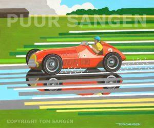 In een geheel eigen stijl schildert Tom Sangen historische racewagens, zoals deze Alfetta GT Tipo 158. Copyright: Tom Sangen