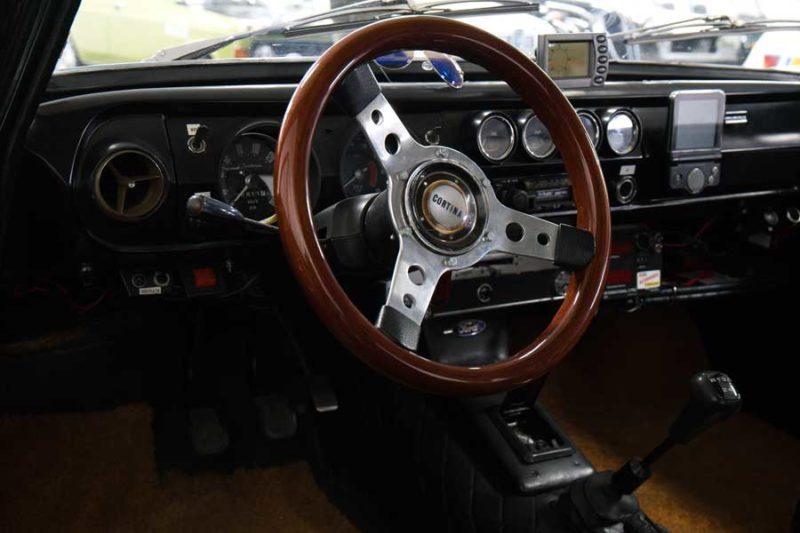 Ford Cortina MkI rallyuitvoering interieur