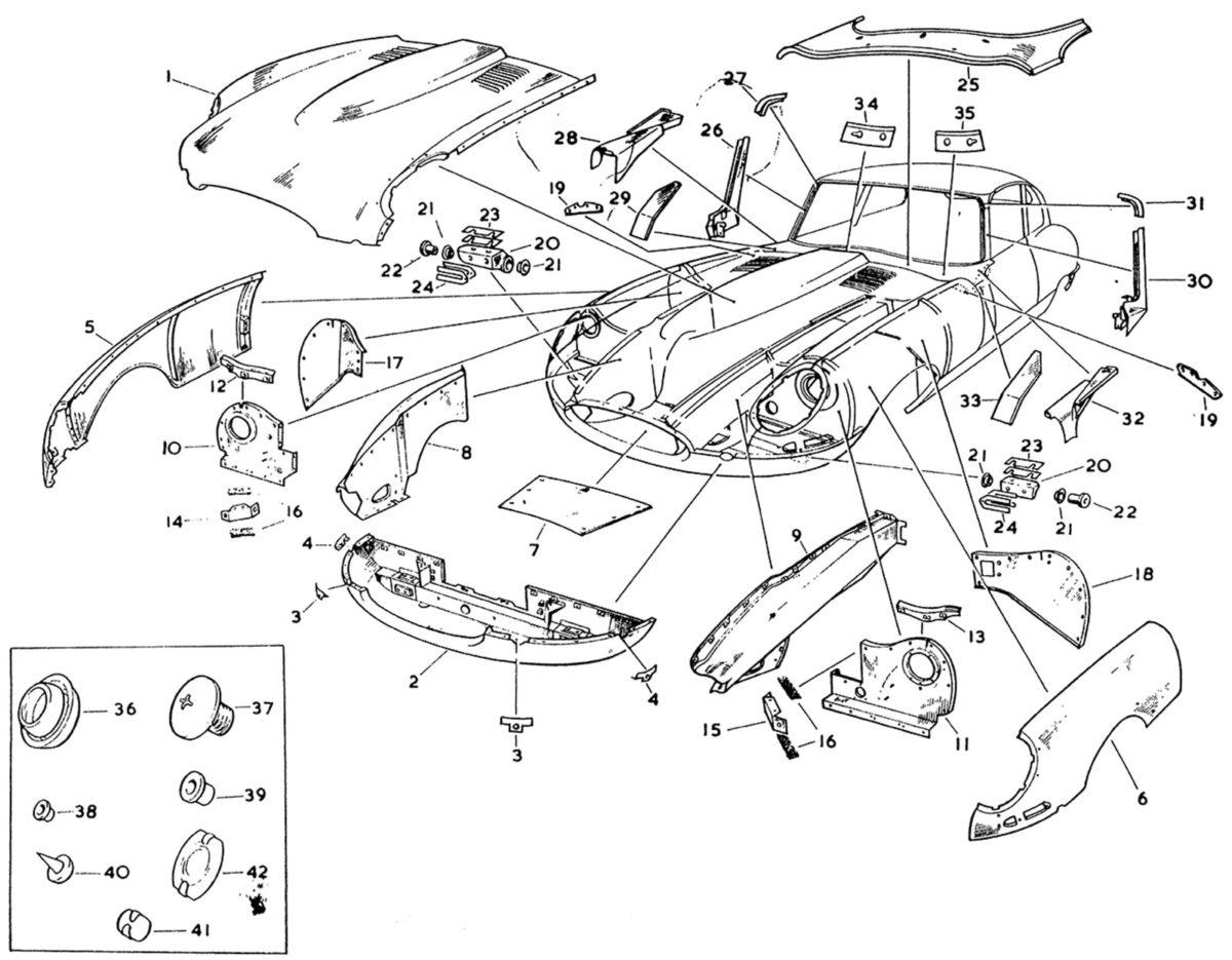 Jaguar E-Type opengewerkte tekening